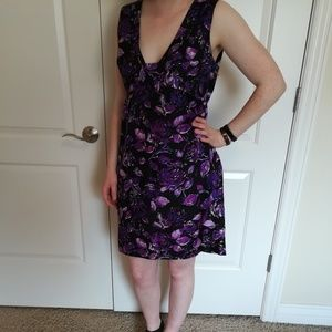 Tibi Black and Purple Silk Dress